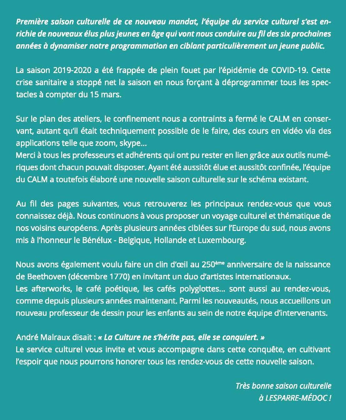 Edito Saison culturelle 2020-2021