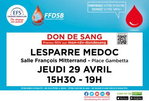Don de sang Avril 2021 Lesparre