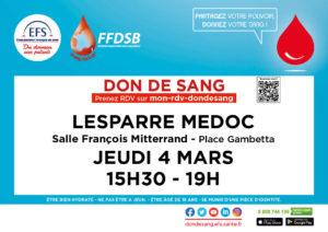Don de sang Lesparre - Mars 2021